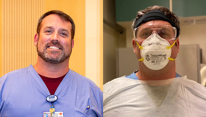 Nurse Andrew Dundin with and without PPE