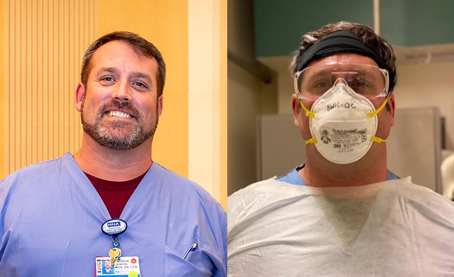 Nurse Andrew Dundin without and with PPE