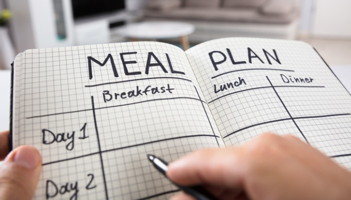 meal plan schedule on paper