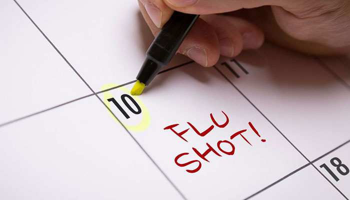 Image of a calendar to get your flu shot
