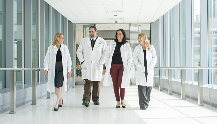 providers walking across bridge