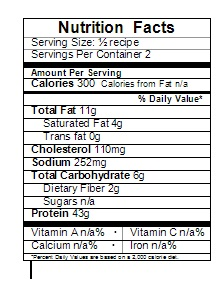 baked stuffed chicken nutrition label