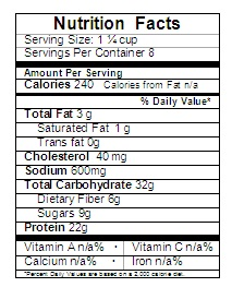 Beef Stew Nutrition Label