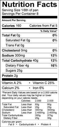 apple barley bake nutrition label