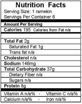 banana date creme brulee nutrition label