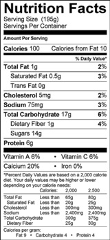 blueberry smoothie nutrition label