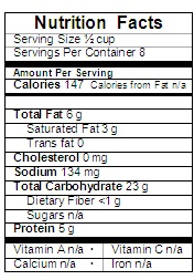 Chocolate Mousse Nutrition Label