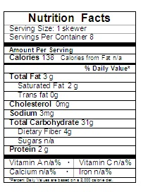 frozen fruit kebob nutrition label
