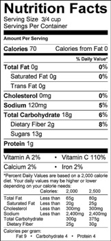 grilled pineapple nutrition label