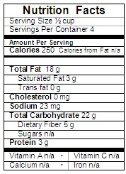 Kiwifruit Cucumber Orange and Cashew salad Nutrition Label