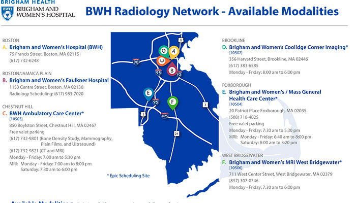 BWH Radiology Network Map and Available Modalities
