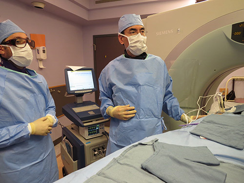 Paul Shyn, MD, performs a CT-guided irreversible electroporation in the liver.
